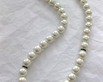 Pearl, Crystal, 18kg and Sterling Silver Necklace