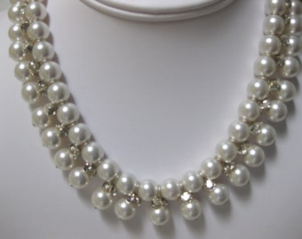 Pearl and Crystal Double Strand Necklace