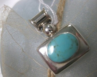 Turquoise and Sterling Silver Pendant for Necklace