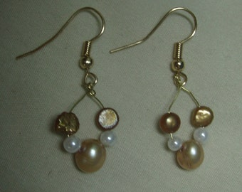 copper pearl earrings