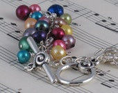 Rainbow Pearl Waterfall Dangle Necklace