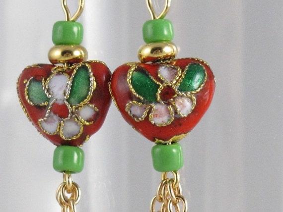 Sentimental Journey Cloisonne Heart Earrings