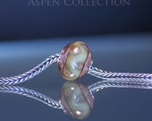 Large Hole Bead With Sterling Silver Core And Copper Caps -  From The Aspen Collection - European Charm Bead - Fits Troll etc.