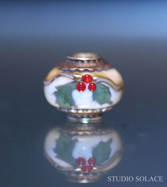 Christmas Holly Lampwork Big Hole Bead - European Charm Bead - Fits Pandora, Troll, etc