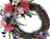 Grapevine Front Door Wreath - Sale - Half Price -  with Silk Flowers in Pink and Purple