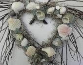 Heart Seashell Wreath with seashells and sea glass for beach lovers, nautical theme decor, beach decor, coastal decor