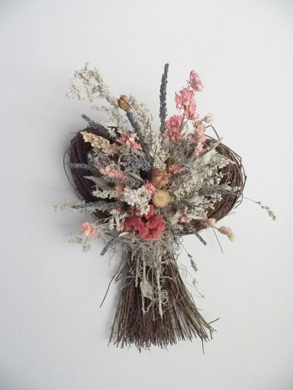 Dried Flower Wall Hanging with pink dried flowers and fragrant lavender