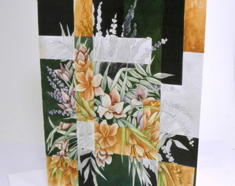 Shattered Reality IX (Pink &  Peach Flowers in Green Bowl) - Blank Note Cards