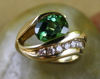 14 Karat Green Tourmaline And Diamond Handmade Ring