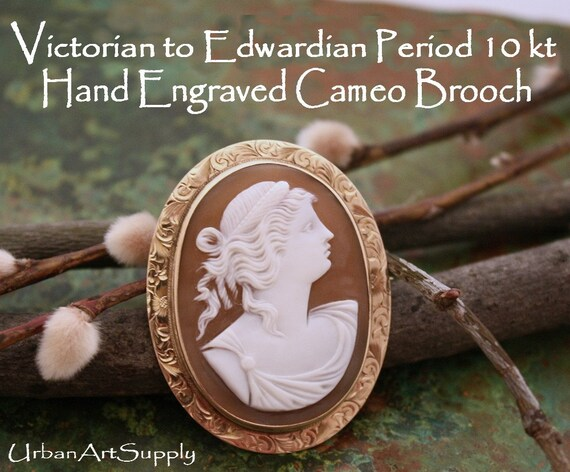 SALE   Circa from Victorian to the Edwardian Period Carved Cameo Hand Engraved 10Kt Yellow Gold Brooch