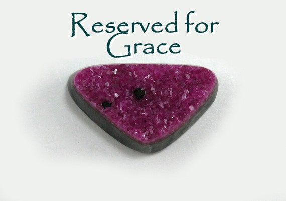 RESERVED For Grace Only   Cobalto Calcite Druzy Cabochon Natural Mini Black Cherry