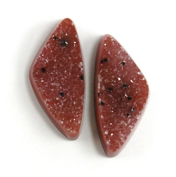 Dyed Agate Matching Pair Druzy Beautiful Brazilian Rusty Red