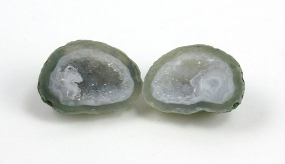 One Pair Earring Size Matched Baby Geode Druzy Cabochons