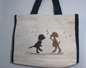 hand painted canvas tote bag - Boogie Woogie Bow Wow