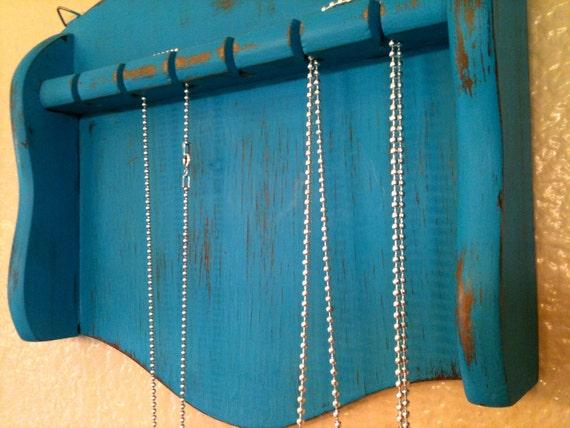 RESERVED FOR JENNIFER - Vintage Necklace Rack - Upcycled Turquoise Organizer