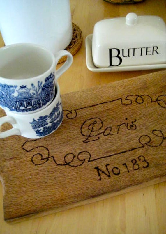 FaRmHouSe Cutting Board with Paris Design - Woodburned, Rustic, Upcycled Vintage Wood Cheese Board