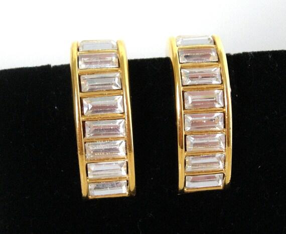 Vintage NAPIER Baguette Rhinestone Earrings