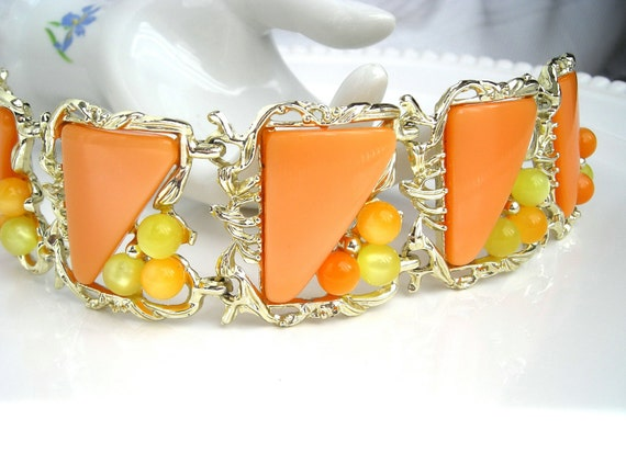Vintage PAM Signed Tangerine Orange Thermoset Bracelet