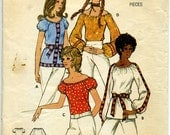 FINAL CLOSING SALE 1970s Boho Peasant Blouse Pattern Bust 34 to 36 Size Medium Butterick 6206