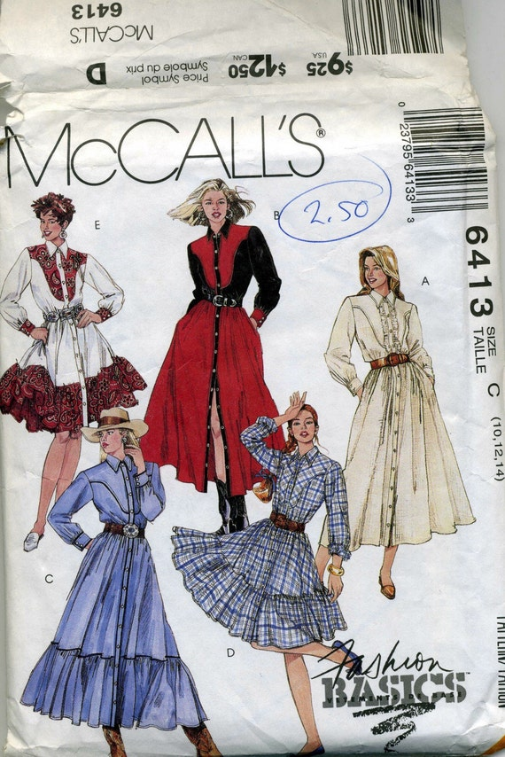 RODEO QUEEN Western Womens' Dress Pattern McCalls 6413 UNCUT OOP Size 10 12 14 Bust 32 1/6 to 36