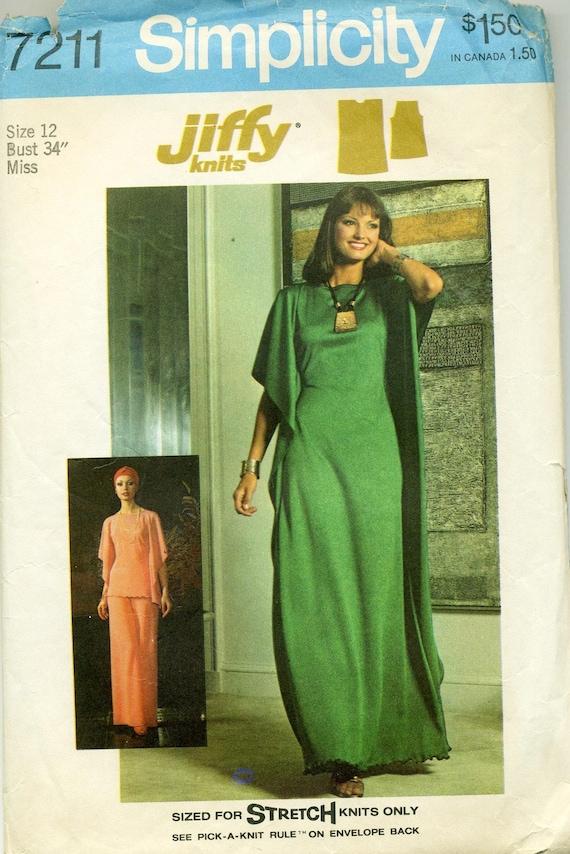Vintage 1970s Stretch Knit Jiffy Dress or Caftan Pattern Simplicity 7211 Bust 34