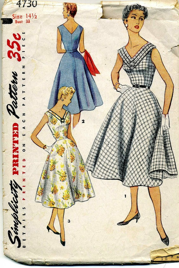 CLOSING SALE 1950s Dress Pattern Simplicity 4730 Bust 33 Half Size Petite Rockabilly
