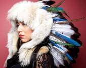 Ruby Feathers White Fox Fur and Macaw War Bonnet