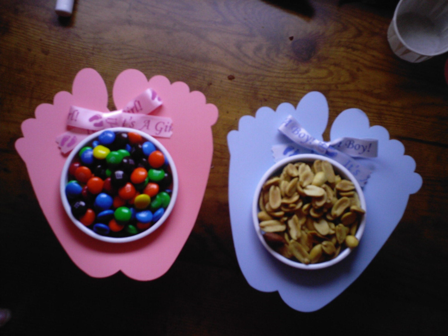 baby feet nut and candy cups baby shower table favor