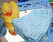 Organic Cotton Hand Knit Light Blue Baby Hat