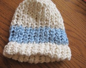 Organic Cotton Cream with a Blue Stripe Hand Knit Hat (0-3 months) Newborn