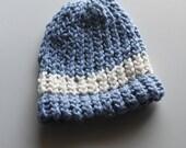 Organic Cotton Blue with Cream Stripe Baby Hat- Handknit - 0-3 months