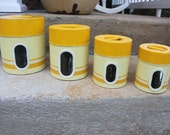 Yellow and Gold Cannister set, made in Japan, probably Counterpoint