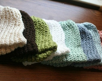 Three Organic Cotton Knit Baby Hats - 3 for 24 dollars