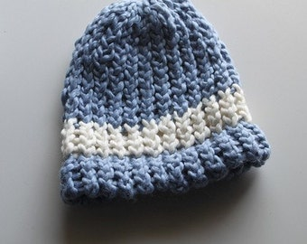Organic Cotton Blue with Cream Stripe Baby Hat- Handknit - 0-3 months