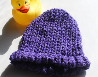 Organic Cotton Handknitted Baby Hat - Eggplant Color - Newborn