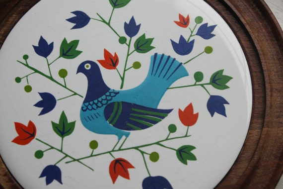 Vintage Quail Trivet - Hot Plate with Wooden Bottom