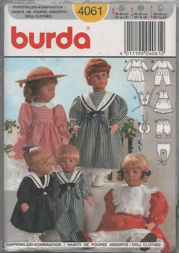 "Burda Doll Clothes Sewing Pattern S-M-L Dolls 12""-22"" Sailor Suit for Boy or Girl Dolls"