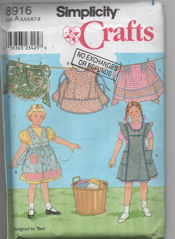 Simplicity crafts Pattern Childrens Aprons Retro Style  Sew a Childs Apron