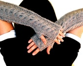 Whole Wool Chunky Cabled Handknit Fingerless Gloves Arm Wrist Warmers - 12in long