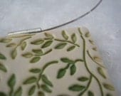 Green Leaf Porcelain Pendant - Square