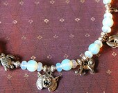 Indian Dashavatara necklace. Arangetram SALE. Moonstone, depicts ten Incarnations. Matching earrings. Indian mythology.