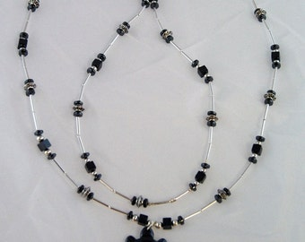"Long Black necklace with hematite and silver SALE -  turtle pendant, 32"" with earrings"