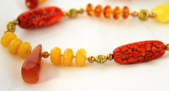 30% off - Red yellow necklace, bracelet, earring set: FIRE with coral turquoise amber and yellow jade. Elements collection