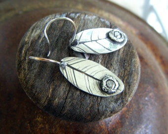 Boho Chic Silver Leaf Earrings