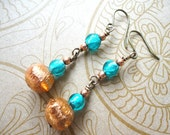 Turquoise, Murano Glass, Copper, Beads, Beaded, Holiday Earrings