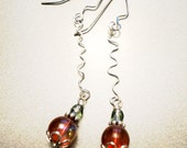 Holiday Ornament Earrings - Red, Green, Glass, Clear, Bead, Earrings