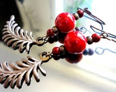 Holiday Earrings - Red Glass Berries - Red Glass, Copper Leaf, Feathers, Bead, Summer, Earrings