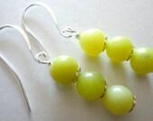 Yellow Jade Holiday Earrings