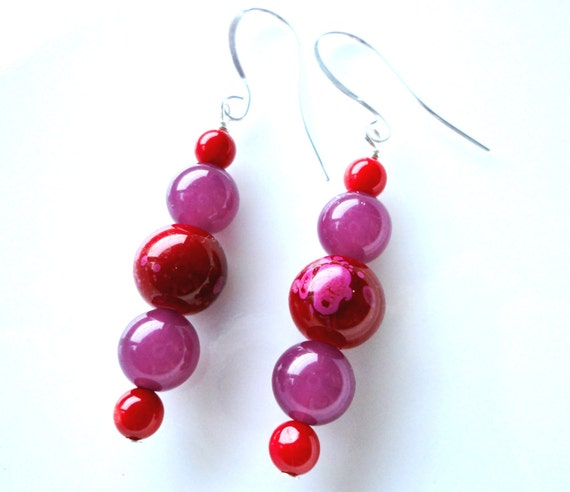 Spring Earrings - Spring Berries - Fuchsia Pink and Red Berries, Glass Bead