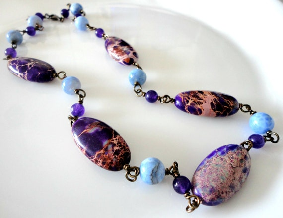 Purple Jasper, Blue Agate and Purple Aventurine Summer Bead Necklace - Mint Light Turquoise Gift Box Included